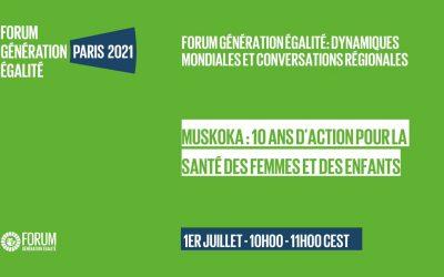 Forum Génération Egalité du 30 juin au 2 juillet 2021